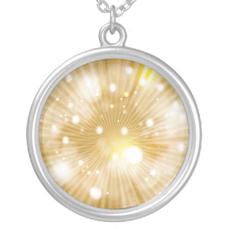 Gold Abstract Round Pendant Necklace