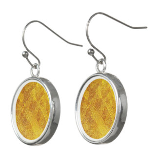 Gold Abstract Pattern Drop Earrings