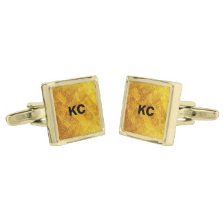 Gold Abstract Pattern Gold Plated Square Cufflinks Gold Finish Cufflinks