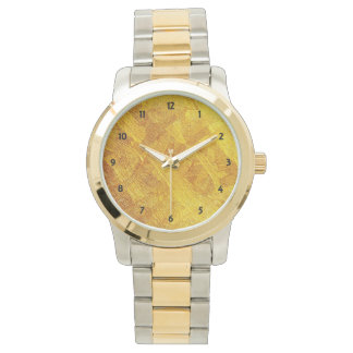Gold Abstract Pattern OS Two-Tone Men's Watch