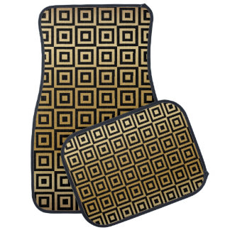 Gold Abstract Square Pattern Floor Mat