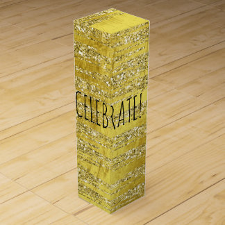 Gold Abstract Stripes Celebrate Wine Bottle Boxes