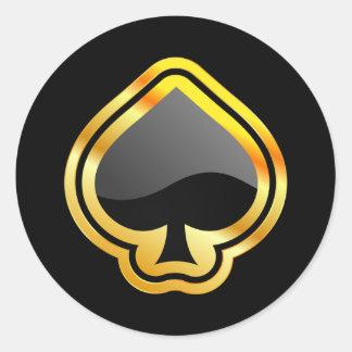 Gold Ace of Spades Round Sticker