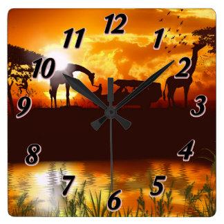 Gold African Sky Safari Jungle Square Wall Clock