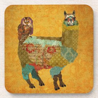Gold Alpaca Amethyst Owl Coaster