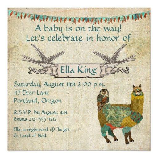 Gold Alpaca & Teal Owl  Baby Invitation