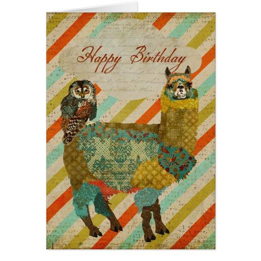 Gold Alpaca & Teal Owl Birthday Card