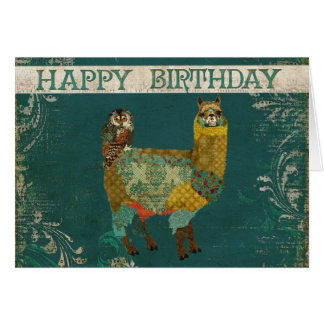 Gold Alpaca & Teal Owl Birthday  Card