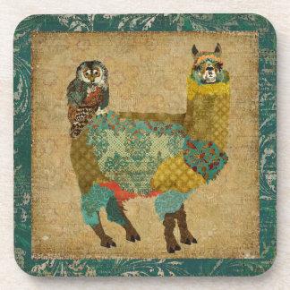 Gold Alpaca Teal Owl Coaster