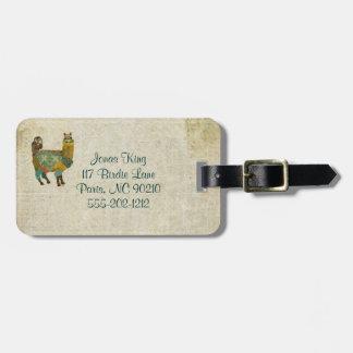 Gold Alpaca & Teal Owl Luggage Tag