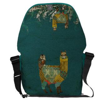 Gold Alpaca & Teal Owl  Messenger Bag