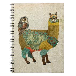 Gold Alpaca & Teal Owl  Notebook