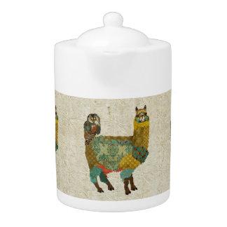 Gold Alpaca Teal Owl Teapot