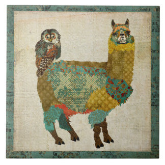 Gold Alpaca Teal Owl Tile
