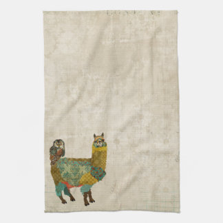 Gold Alpaca & Teal Owl Towel