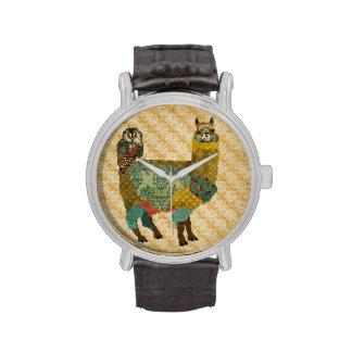 Gold Alpaca Teal Owl Watch
