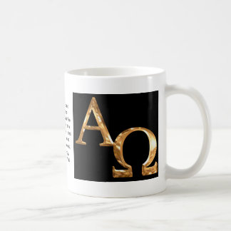 Gold Alpha and Omega symbols on black background. Mug