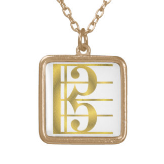 Gold Alto clef music symbol pendant necklace