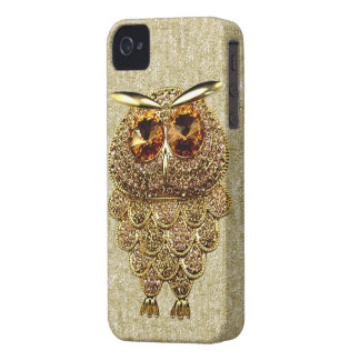 Gold & Amber Owl Jewel PRINTED IMAGE iPhone 4 Case