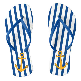 Gold anchor and navy blue stripes on flip flops