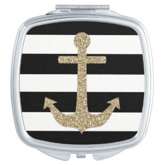 Gold Anchor Black/White Square Compact Mirror