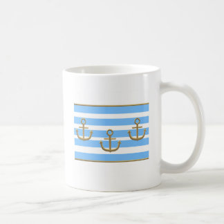 gold anchor blue white background coffee mug