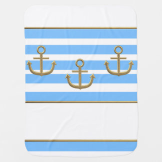 gold anchor blue white background receiving blanket