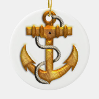 Gold Anchor Christmas Ornament