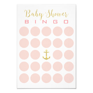 Gold Anchor Cute 5x5 Baby Shower Bingo Card