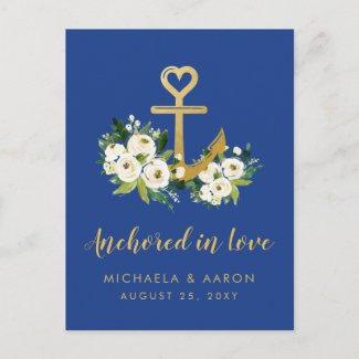 Gold Anchor Floral Nautical Save the Date Postcard