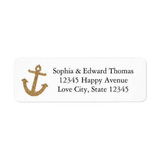 Gold Anchor Glitter Return Address Label