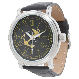 Gold Anchor Initials Personalize Watch