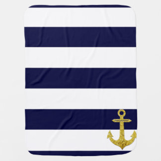 Gold anchor nautical stripes baby blanket