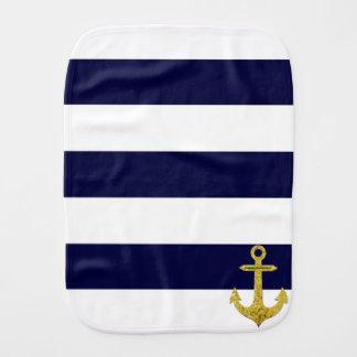 Gold anchor nautical stripes burp cloths
