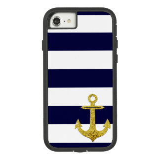 Gold anchor nautical stripes Case-Mate tough extreme iPhone 8/7 case