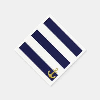 Gold anchor nautical stripes disposable napkins