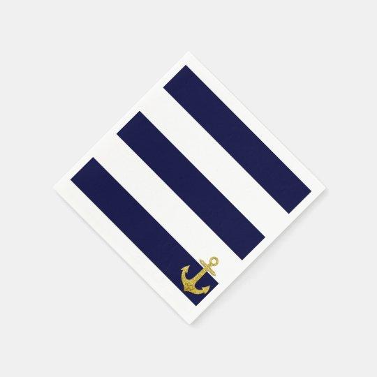 Gold anchor nautical stripes disposable napkins