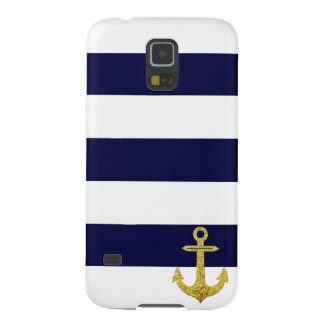 Gold anchor nautical stripes galaxy s5 case