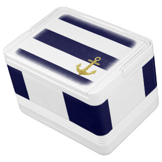 Gold anchor nautical stripes igloo cool box