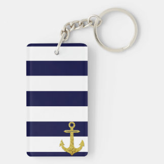 Gold anchor nautical stripes key ring