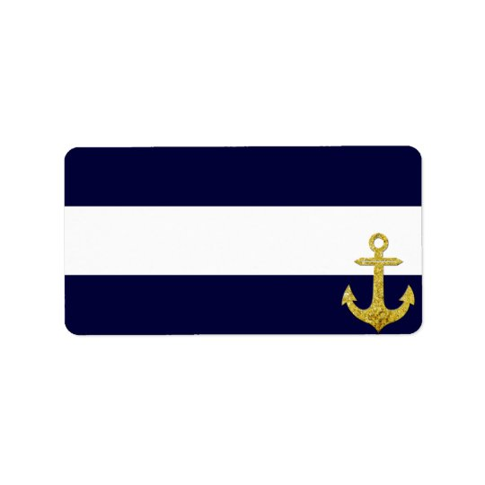 Gold anchor nautical stripes label
