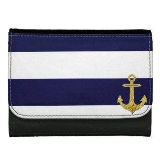 Gold anchor nautical stripes leather wallet for women