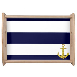 Gold anchor nautical stripes serving tray