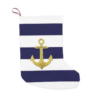 Gold anchor nautical stripes small christmas stocking