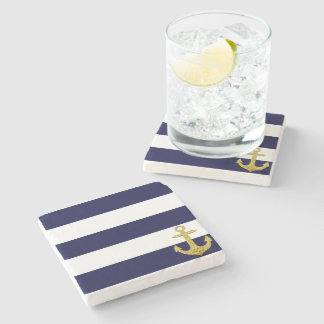 Gold anchor nautical stripes stone coaster