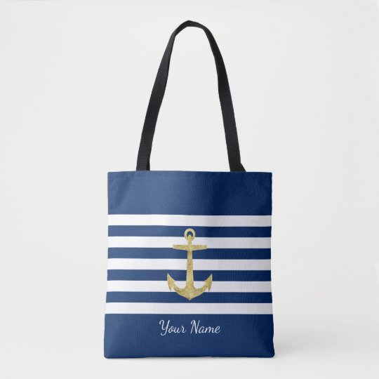 Gold Anchor Navy Blue Stripes Nautical Modern Tote Bag