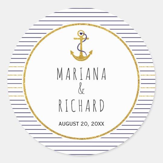 Gold anchor & navy blue stripes nautical wedding