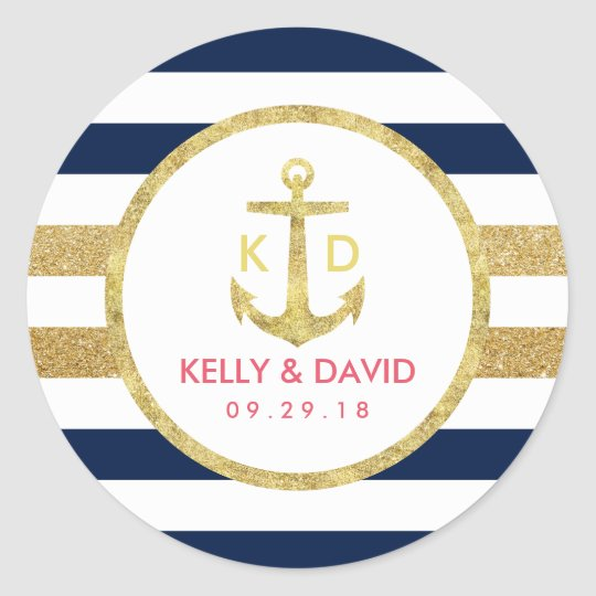 Gold Anchor Navy Stripes Nautical Wedding Favour Classic