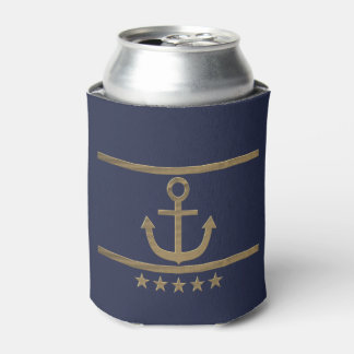 gold anchor on blue background. can cooler