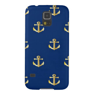 Gold Anchor On Navy Background Galaxy S5 Cases